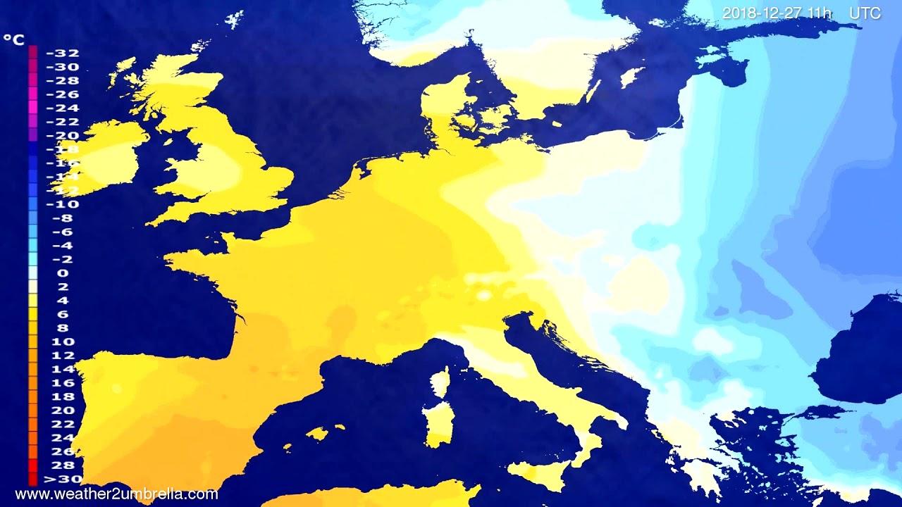 Temperature forecast Europe 2018-12-23