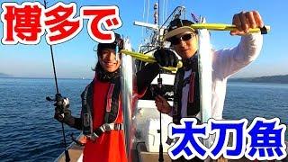 博多の海で光る剣のような魚釣ってきた!