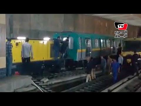 أعمال رفع قطار مترو العباسية بعد حادث المصدات