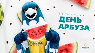 Талисман баскетбольного клуба «Астана» Сэмми отпраздновал международный день арбуза