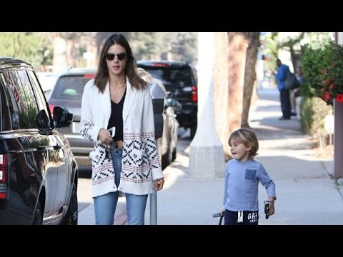 Sexy Victoria's Secret Model Alessandra Ambrosio Takes A Walk With Noah