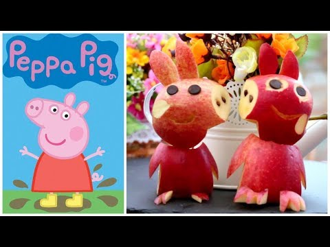 How to Make Apple Peppa Pig Garnish - Apple Carving Designs