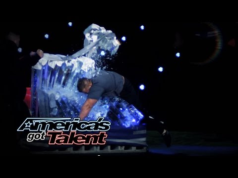 America - The strongman tears through books, bends pots and pans, and runs through a 15-foot wall of ice! See him cut his head open during his dangerous stunt! » Subscribe: http://full.sc/IlBBvK »...