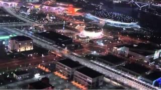 ShangHai World Expo night-time flyover