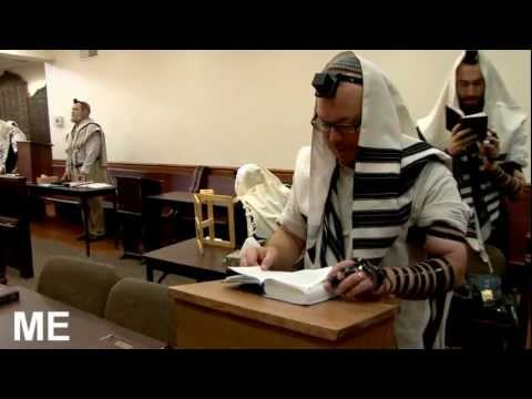 Jewish prayer in a synagogue
