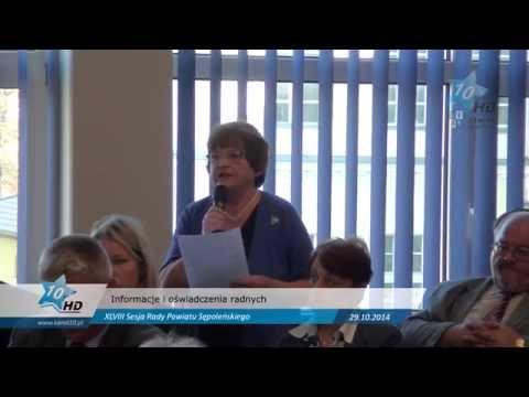 XLVIII Sesja Rady Powiatu Sępoleńskiego - Informacje i oświadczenia radnych, 29.10.2014 r.