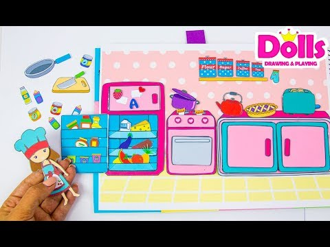 🍳🍼👩‍🍳MAKING PAPER QUIET BOOK KITCHEN DRAWING & PLAYING WITH DOLLS PAPERCRAFT FOR KIDS