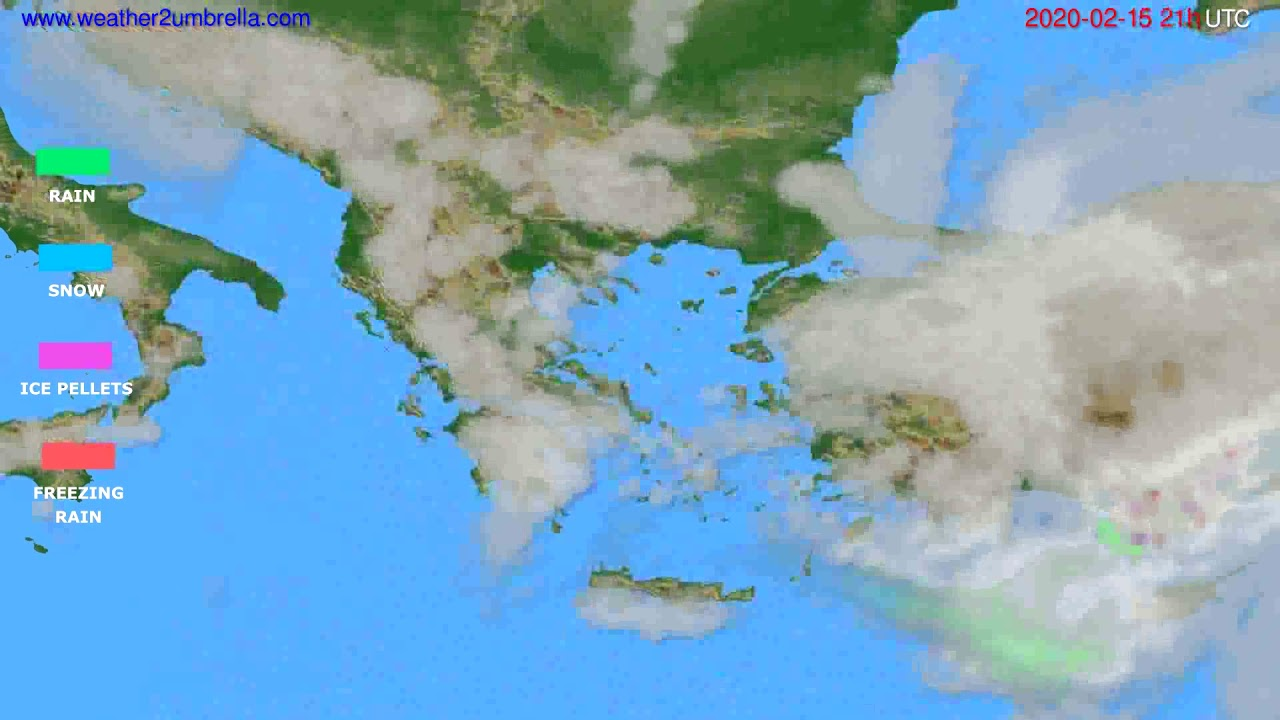 Precipitation forecast Greece // modelrun: 12h UTC 2020-02-14