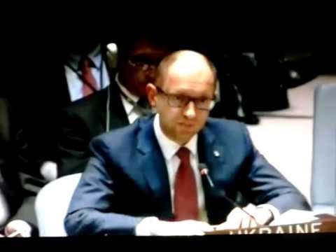 Чуркин отвечает на вопрос Яценюка на заседании Совбеза ООН.