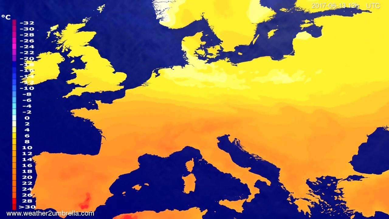 Temperature forecast Europe 2017-06-11