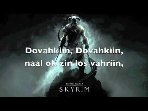 dragonborn - The song as in the menu of Skyrim, with original Dragontongue lyrics. Beware not to Shout at your family or friends while singing... Translation Dragonborn, ...