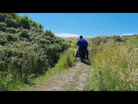Optur med Swiss Trac i kørestol til trolden Anker drømmefanger på Fanø