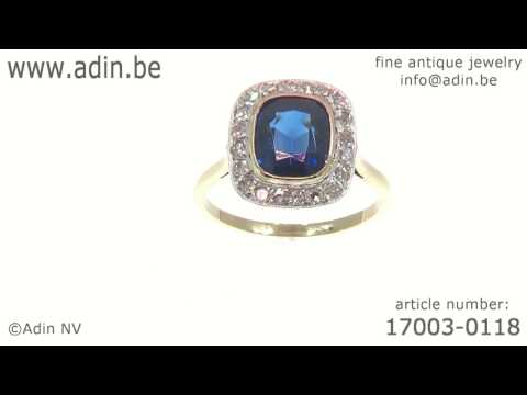 Vintage diamond and sapphire engagement ring. (Adin reference: 17003-0118)