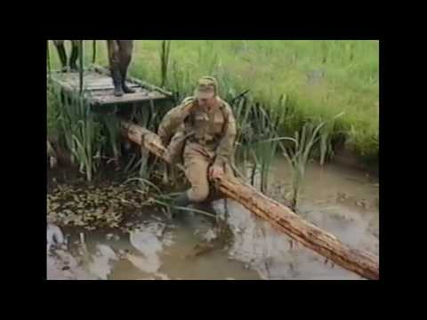 Soldiers fall in water