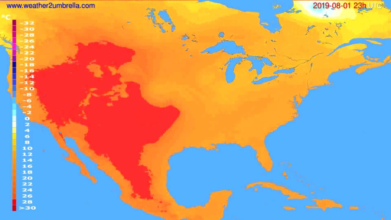 Temperature forecast USA & Canada // modelrun: 12h UTC 2019-07-29
