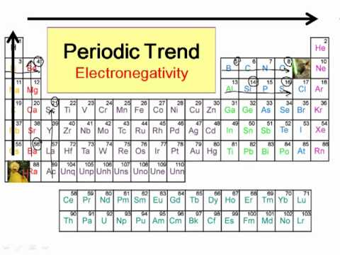 Electronegativity - This video explains periodic trends in electronegativity and what electronegativity is defined as..