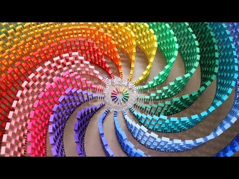 Sweet 12,000 domino rainbow spiral topple