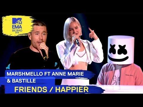 Marshmello Ft. Anne-Marie & Bastille - FRIENDS / HAPPIER   2018 MTV EMA Live Performance
