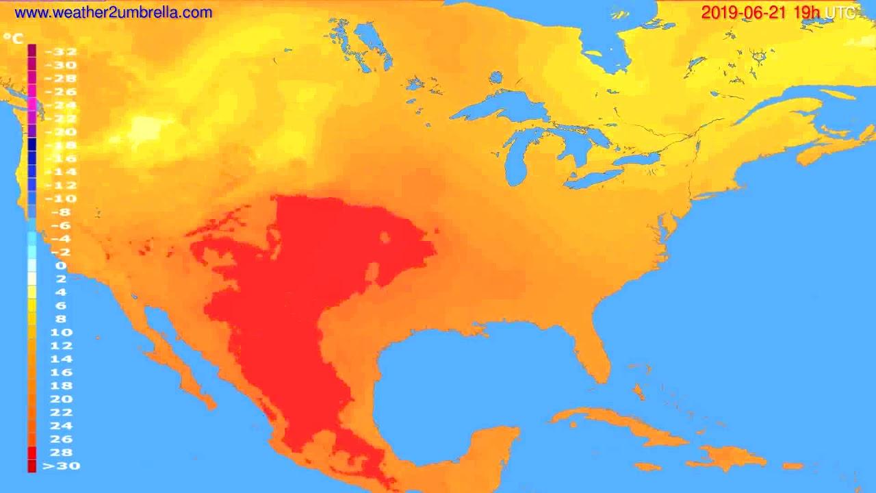 Temperature forecast USA & Canada // modelrun: 12h UTC 2019-06-18
