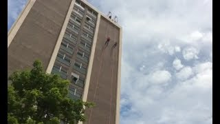 Dozens of rappellers braved the 155-feet-tall Midtown Towers in Watertown, NY for the Over the Edge event, a fundraiser for the ...
