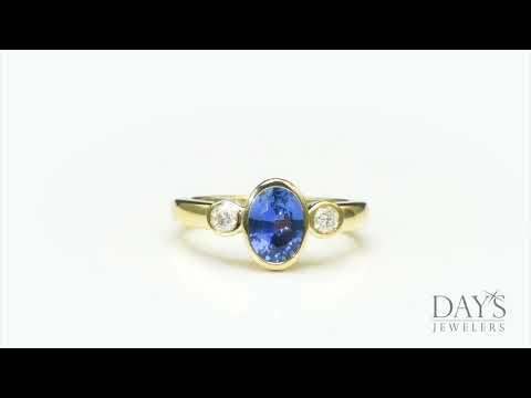 Ceylon Sapphire Bezel Ring with Diamonds in 14kt Yellow Gold (1/7ct tw)