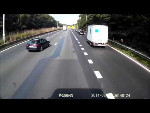 Car vs truck crash E40 Aalter