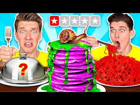 Download Worst Reviewed Food Mystery Wheel Challenge & How To Eat Weird Foods Like a Taro Pancake HD Mp4 3GP Video and MP3