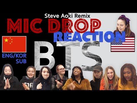 BTS(방탄소년단) - MIC Drop (Steve Aoki Remix) MV Reaction 미국 vs 중국 외국인 반응, 리액션 [한글자막][ENG SUB]