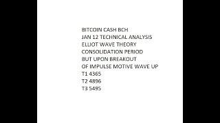 Bitcoin Cash BCH Jan 12 Consolidates with Long Term Target $4,365 -$5,495