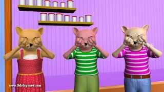 Three Little Kittens - 3D Animation English Nursery rhyme for children with lyrics