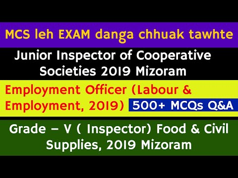 Mizo GK/History/Current Affairs MCQs | MPSC leh Department hrang hrang exam-a chhuak tawh lawrkhawm