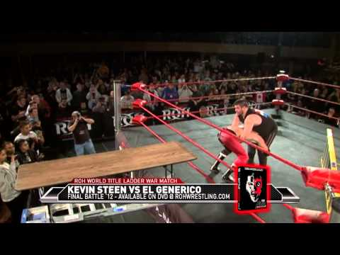 roh - KEVIN STEEN VS EL GENERICO ROH WORLD CHAMPIONSHIP LADDER WAR (FINAL ROH MATCH) Visit here to find out when ROH airs in your area http://www.rohwrestling.com/...