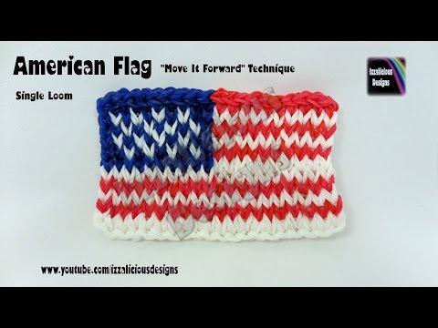 "Rainbow Loom American Flag ""Move It Forward"" Technique – single loom"