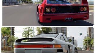 Forza Horizon 3 gameplay Surfers Tear Up - Rivals Cars: 1987 Porsche 959* (450HP/369ft-lb/3,190lb/43%/2,849cc/A 763) - 2:26.113 1987 Ferrari F40 (478HP/424ft...