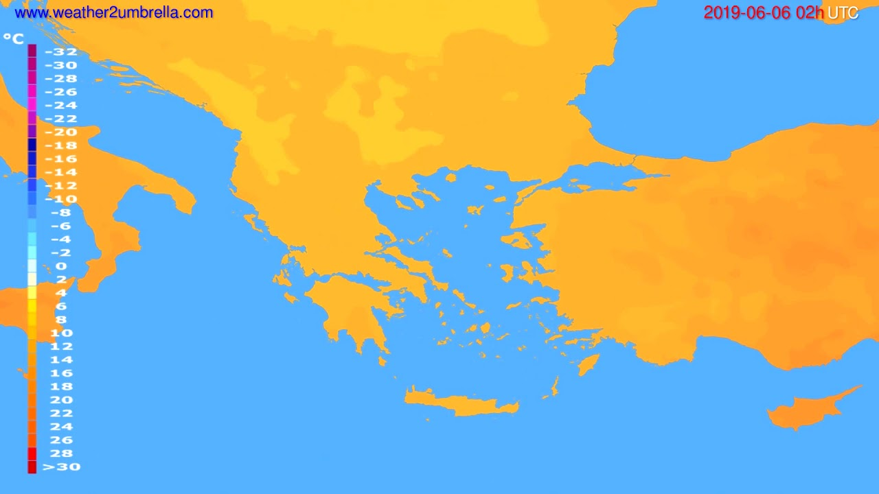 Temperature forecast Greece // modelrun: 12h UTC 2019-06-03