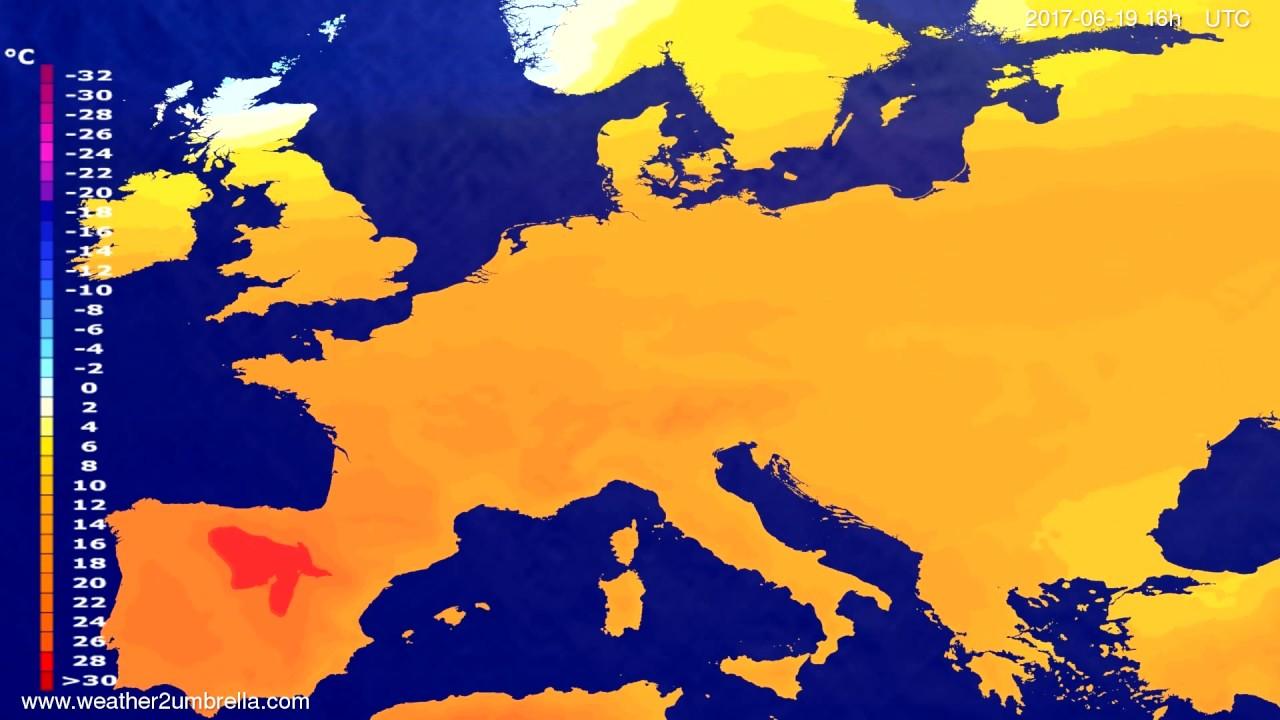 Temperature forecast Europe 2017-06-16