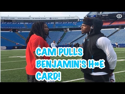 CAM NEWTON PULLS UP ON KELVIN BENJAMIN FACE TO FACE!