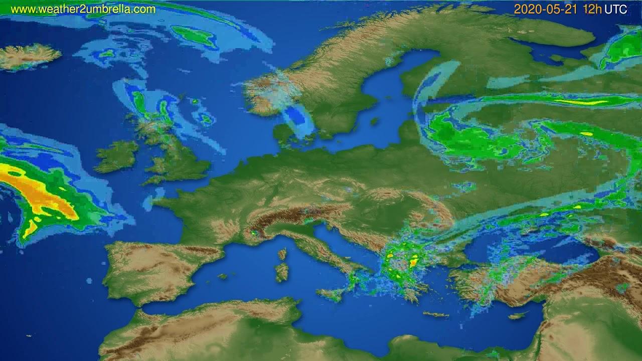 Radar forecast Europe // modelrun: 00h UTC 2020-05-21