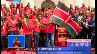 President Uhuru Kenyatta rewards U-18 championsSUBSCRIBE to our YouTube channel for more great videos: https://www.youtube.com/Follow us on Twitter: https://twitter.com/KTNNews  Like us on Facebook: https://www.facebook.com/KTNNewsKenya For more great content go to http://www.standardmedia.co.ke/ktnnews and download our apps:http://std.co.ke/apps/#android KTN News is a leading 24-hour TV channel in Eastern Africa with its headquarters located along Mombasa Road, at Standard Group Centre. This is the most authoritative news channel in Kenya and beyond.