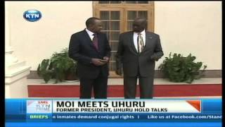 President Uhuru Kenyatta today met former retired president Daniel Moi at State House Nairobi to discuss regional peace. The meeting came a day after the six...