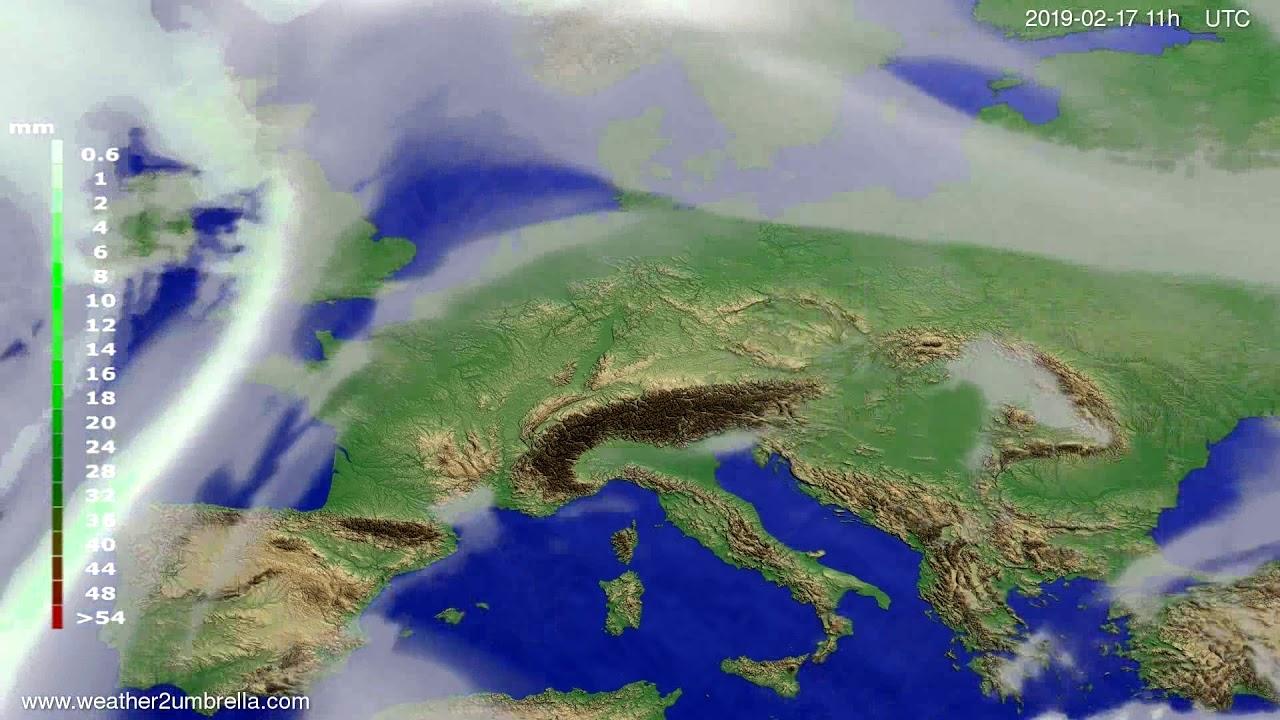 Precipitation forecast Europe 2019-02-16
