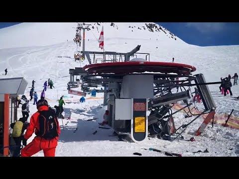 Gudauri crazy ski lift hurt people | Лыжный подъёмник в Гудаури сошёл с ума и покалечил людей (видео)