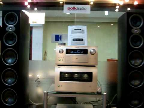 polk audio - here is the combination of denon POA series reference 10channel pre/power amplifier pumping 300W in to polkaudio RTiA 9 towers.............. Source DENON DVD...