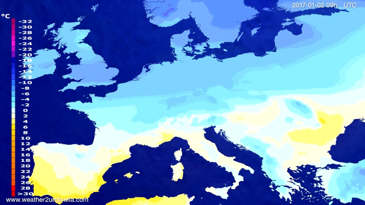 Temperature forecast Europe 2016-12-29