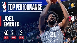 Joel Embiid Drops 40 Points and Grabs 21 Rebounds VS Indiana | December 14, 2018 by NBA