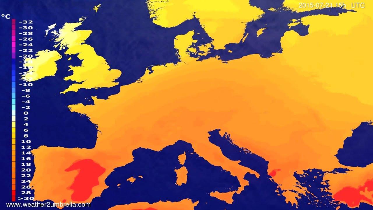 Temperature forecast Europe 2015-07-18