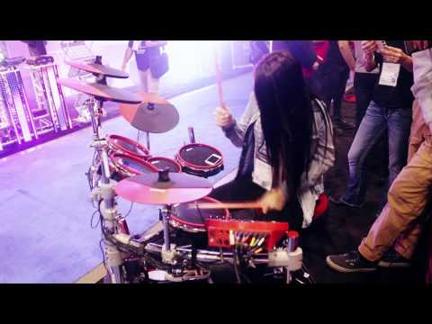Natalie DePergola Plays Drums at 2014 NAMM Show