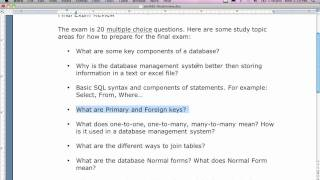 Oracle Database FINAL EXAM Review