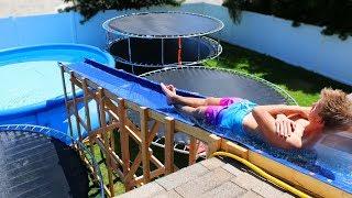 Video GIANT Backyard Water Slide in our Trampoline Water Park!! MP3, 3GP, MP4, WEBM, AVI, FLV Oktober 2018