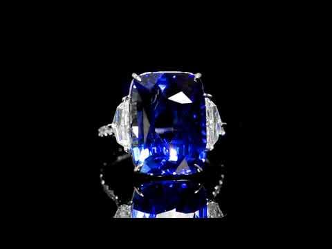 Lotus Gemology Certified 15.50ct Cushion Cut Sri Lanka Blue Sapphire and Diamond Ring